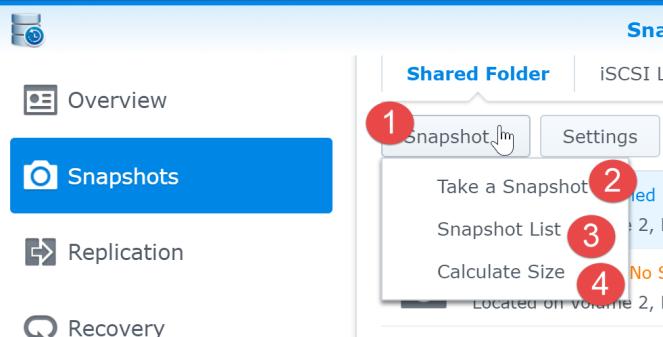 4 take a snapshot synology